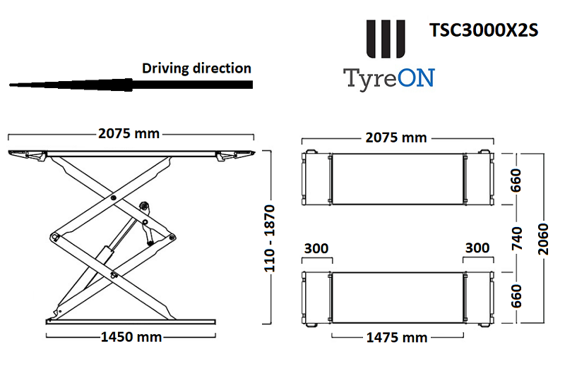 TyreON TSC3000X2s afmetingen