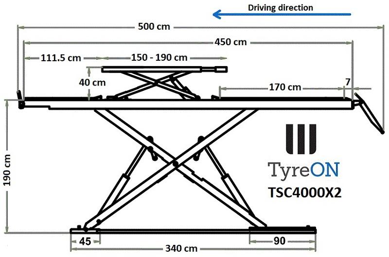 TyreON TSC4000X2 rijbanen hefbrug afmetingen