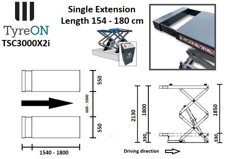 TyreON TSC3000X2i korte inbouw hefbrug met enkele extensies afmetingen