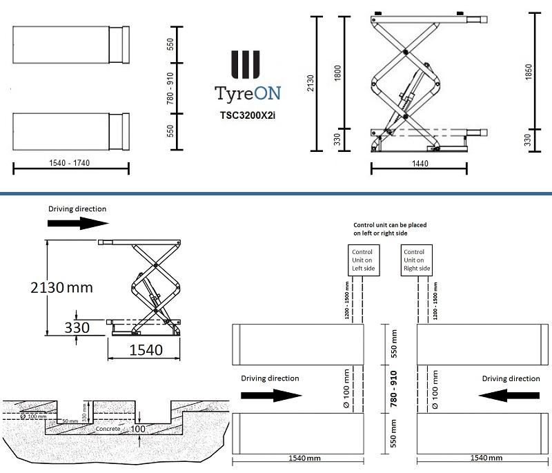TyreON TSC3200X2i afmetingen