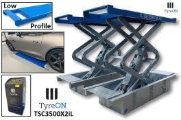 TyreON TSC3500X2iL Low Profile inbouw hefbrug met dubbele extensies en inbouwbakken