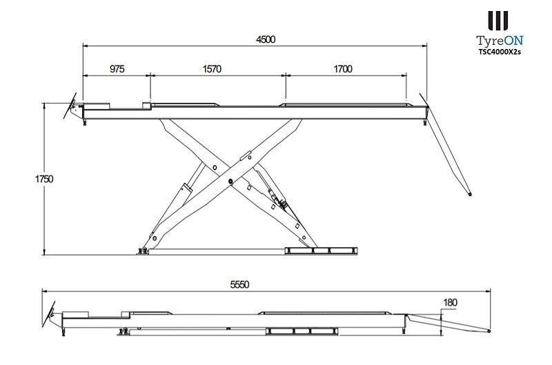 TyreON TSC4000X2s rijbanen hefbrug afmetingen